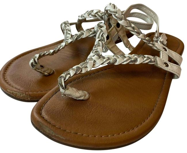 Item - White Leather Braided Sandals Size US 7 Regular (M, B)
