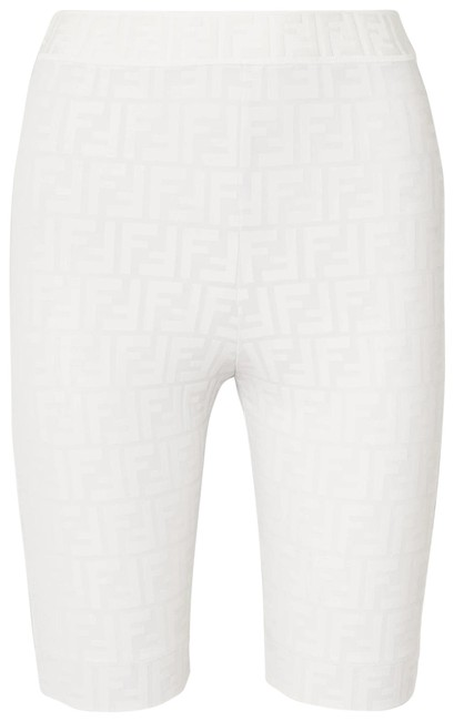Item - White New Ff Zucca Motif Monogram Logo Embossed Stretch Bike Cycling Activewear Bottoms Size 12 (L)