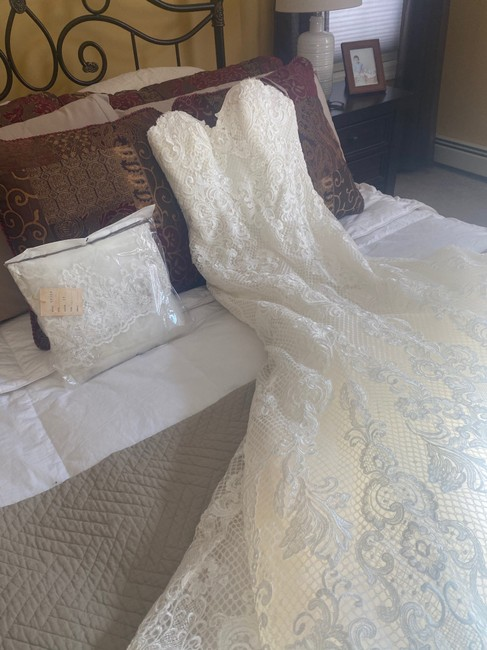 Item - Ivory Lace Gown & Veil Formal Wedding Dress Size 6 (S)