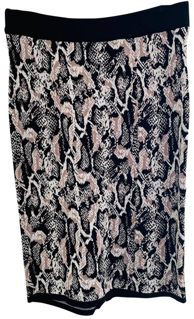 Item - Brown Snake Print Knit Zippered Skirt Size 6 (S, 28)