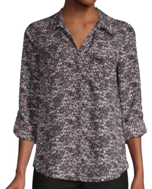 Item - Gray Booker Abstract Print Roll-tab Pullover Shirt Blouse Size 12 (L)
