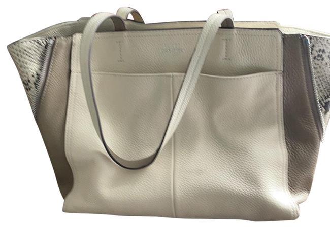 Item - Cream Color with Beige Trim and Snake Leather Accent On Sides Satchel