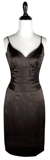 Item - Chocolate Brown Satin Pleated Waist Mid-length Cocktail Dress Size 4 (S)