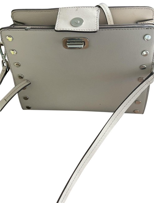 Item - Color Taupe with Silver Hardware Leather Cross Body Bag