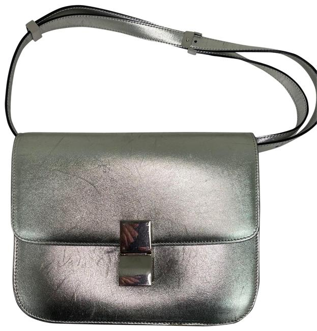 Item - Classic Box Medium Calf Handbag Silver Lambskin Leather Cross Body Bag