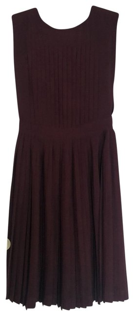 Item - Magenta Pleated Mid-length Short Casual Dress Size 4 (S)