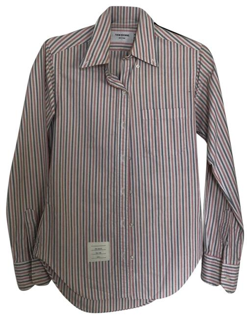 Item - Red & Blue Vertical Stripes Collared Shirt Button-down Top Size 2 (XS)