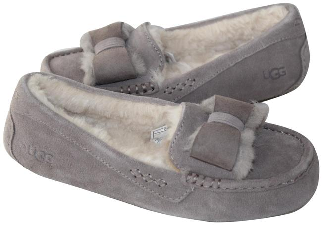 Item - Gray Ansley Suede Bow Shearling Slippers Mules/Slides Size US 7 Regular (M, B)