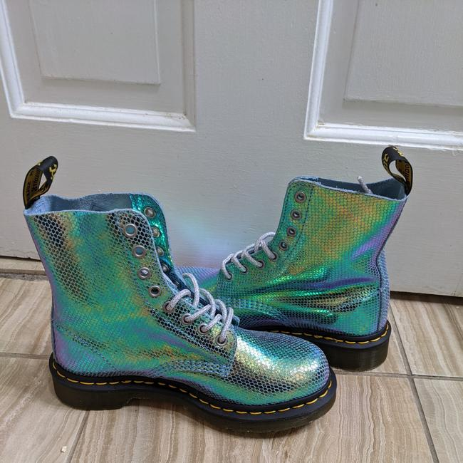 Item - Blue Green Holographic Snakeskin Boots/Booties Size US 6 Regular (M, B)