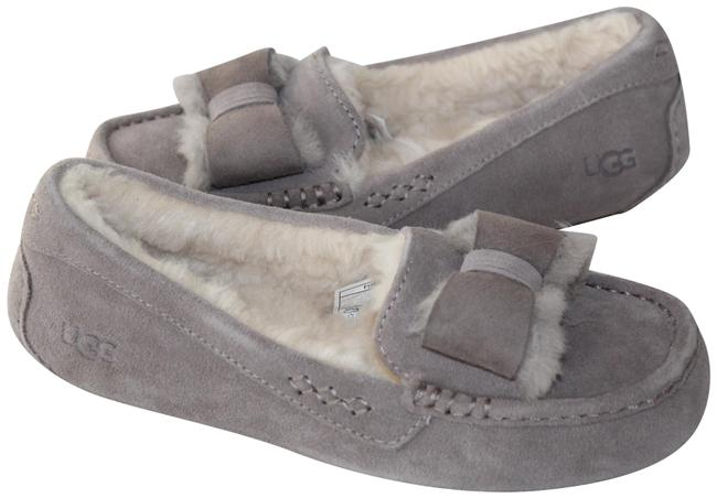 Item - Gray Ansley Suede Bow Shearling Slippers Mules/Slides Size US 9 Regular (M, B)
