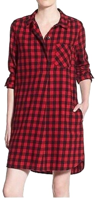 Item - Red XS Latitude Flannel Buffalo Check Button Short Casual Dress Size 0 (XS)