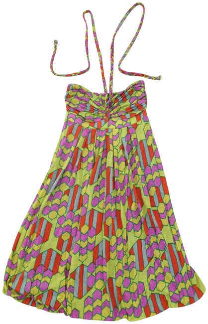 Item - Green/ Purple/ Multi Color Braided Halter Short Casual Dress Size 2 (XS)