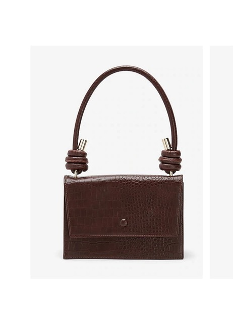 Item - Crocodile Textured Structured Brown Leather Cross Body Bag