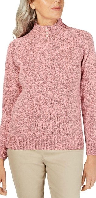 Item - Petite Pink/Black Cable-knit Mellow Rose Marled Sweater