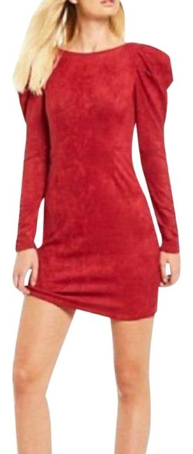 Item - Red Faux Suede Ruched Long Sleeve Mini Short Night Out Dress Size 8 (M)