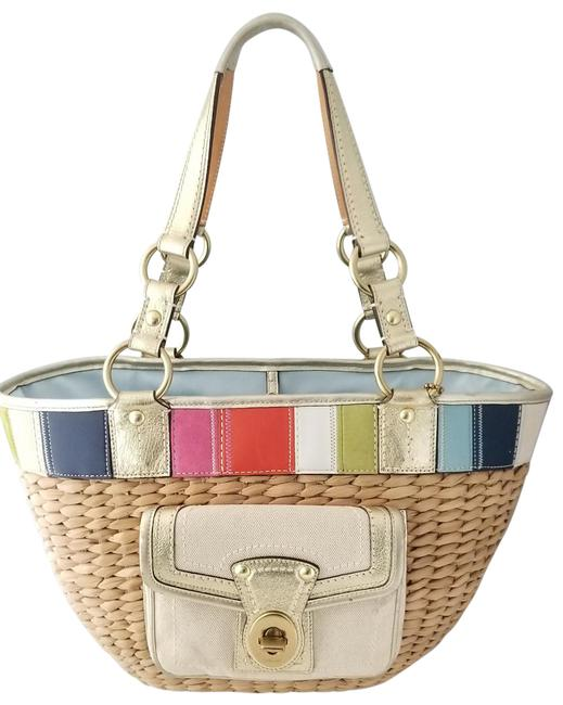 Item - Large Legacy Patchwork 10745 Beige Straw Tote