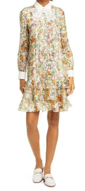 Item - Multi-colored Floral Printed Removable Collar Mid-length Work/Office Dress Size 4 (S)