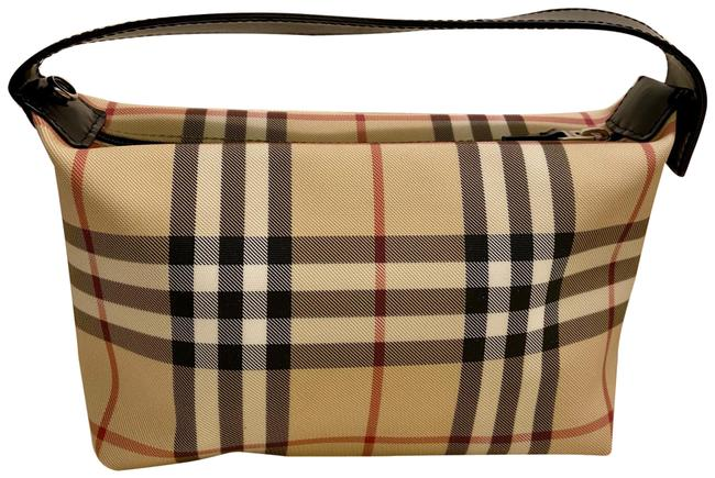 Item - Mini Bag Nova Check Convertible Wristlet Cosmetic Cream and Black Coated Canvas Leather Baguette