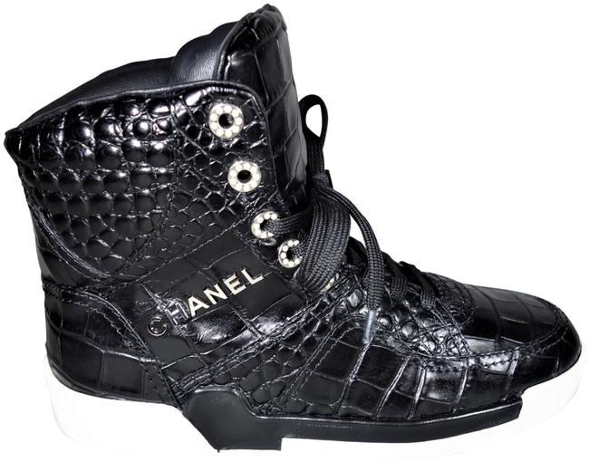 Item - Black 38/7.5 Crocodile Embossed Lace Up High Top Trainers New Sneakers Size EU 38 (Approx. US 8) Regular (M, B)