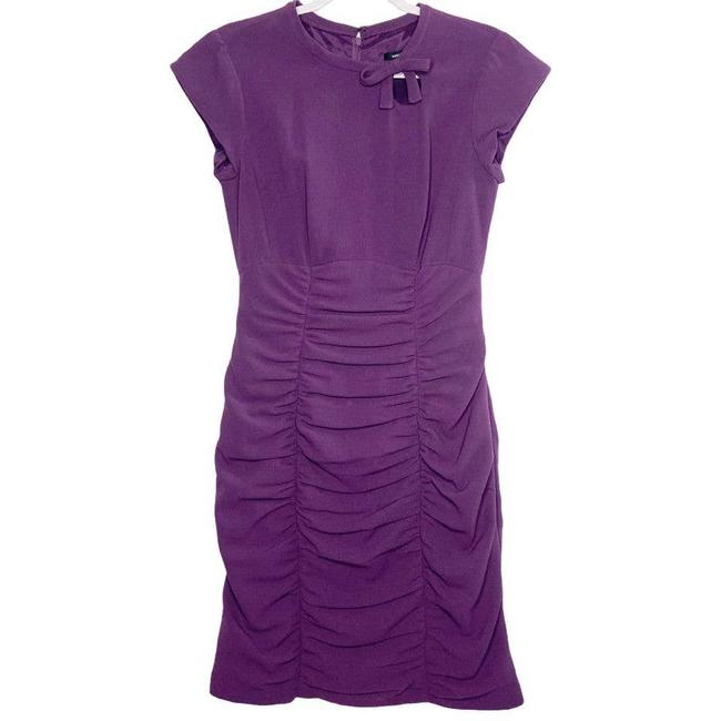 Item - Purple Womens Ruched Bottom Keyhole Bow Short Casual Dress Size 6 (S)