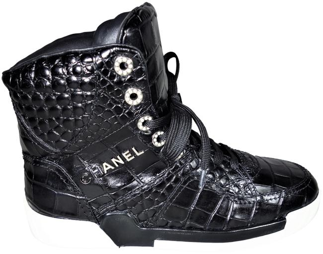 Item - Black 39/8.5 Crocodile Embossed Lace Up High Top Trainers New Sneakers Size EU 39 (Approx. US 9) Regular (M, B)