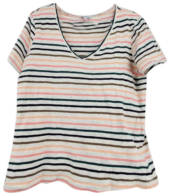 Item - Multicolor Stripe V-neck Sleeve T-shirt Tee Shirt Size 12 (L)