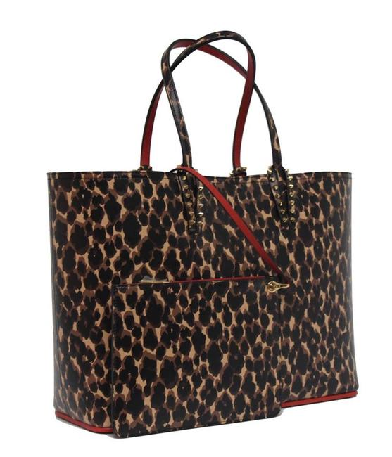 Item - New Cabata Large Leopard Print Brown Leather Tote