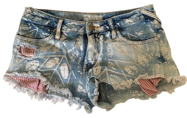 Item - Red and Blue Light Wash America Denim Shorts Size 4 (S, 27)