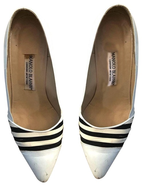 Item - White Vintage Striped Heel 39 Sandals Size US 9.5 Regular (M, B)