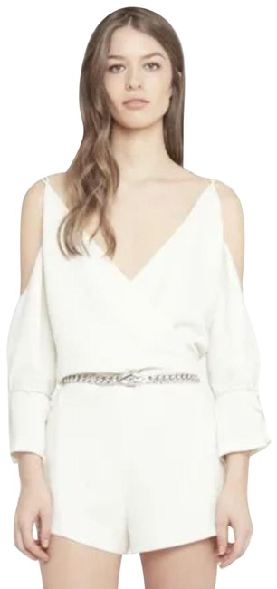 Item - White Crepe Mini Playsuit Large Strappy Back Lace Up Cuff Romper/Jumpsuit