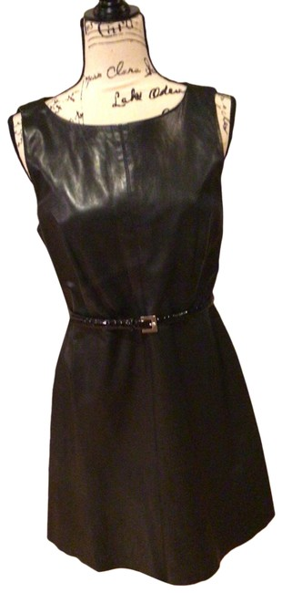 Item - Black Leather Mid-length Night Out Dress Size 6 (S)