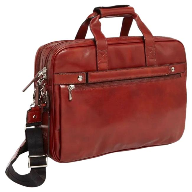 Item - Double Compartment Briefcase Brown Leather Cross Body Bag
