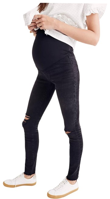 Item - Black Distressed Over The Belly Skinny Jeans Size 6 (S, 28)