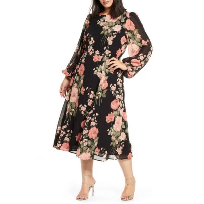 Item - Black Louise Luanne In Floral Print Long Casual Maxi Dress Size 14 (L)