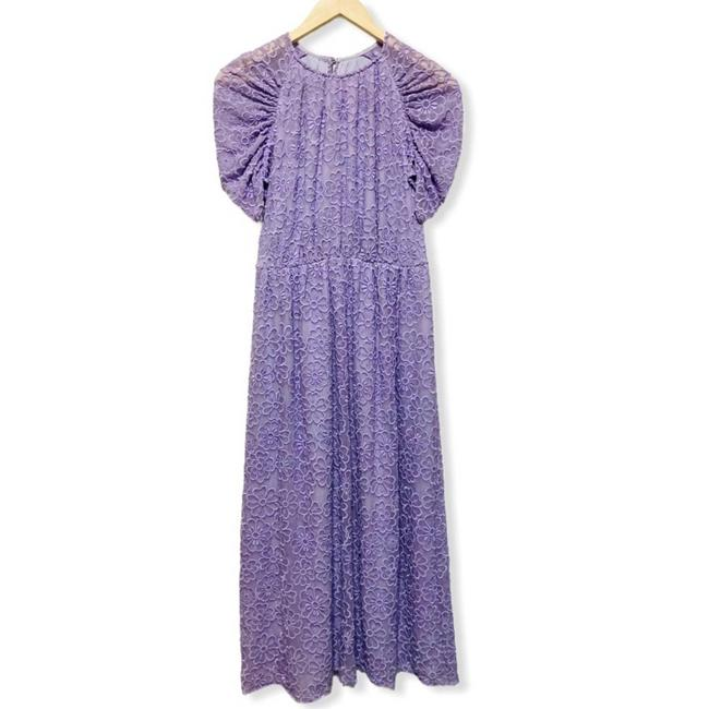 Item - Purple Lilac Floral Embroidered Midi Long Casual Maxi Dress Size 4 (S)