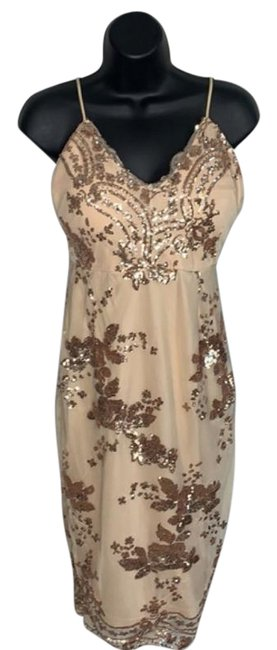 Item - Nude Beige Sequin Mesh Mid-length Night Out Dress Size 4 (S)