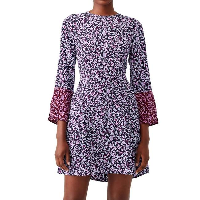 Item - Purple Rocco Silk Floral Short Casual Dress Size 4 (S)