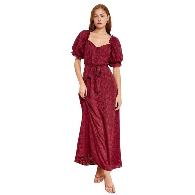 Item - Red Forever Loving You Puff Sleeve Long Casual Maxi Dress Size 4 (S)