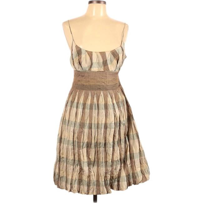 Item - Brown Collection Plaid Babydoll Mid-length Cocktail Dress Size 10 (M)