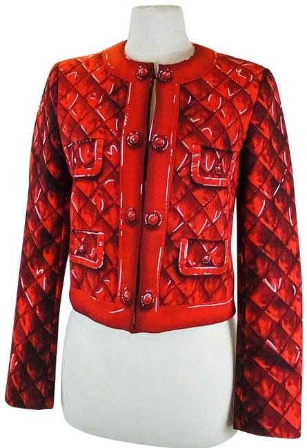 Item - Print Double Breasted Red Jacket Coat Blazer Size 6 (S)