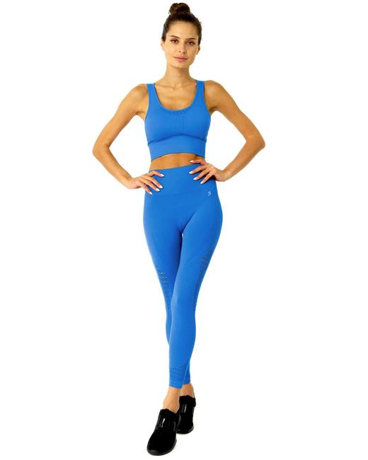 Item - Blue Mesh Seamless with Ribbing Detail - Activewear Bottoms Size 6 (S, 28)
