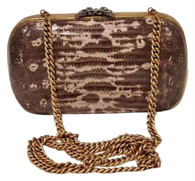 Item - Clutch Lizard Skin Cream Gold Leather and Gg Leather Cross Body Bag
