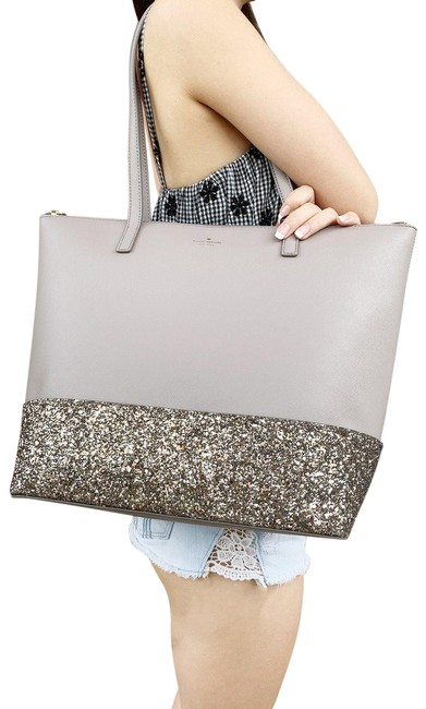 Item - Greta Court Penny Glitter Large Top Zip Glitter Gray Tote