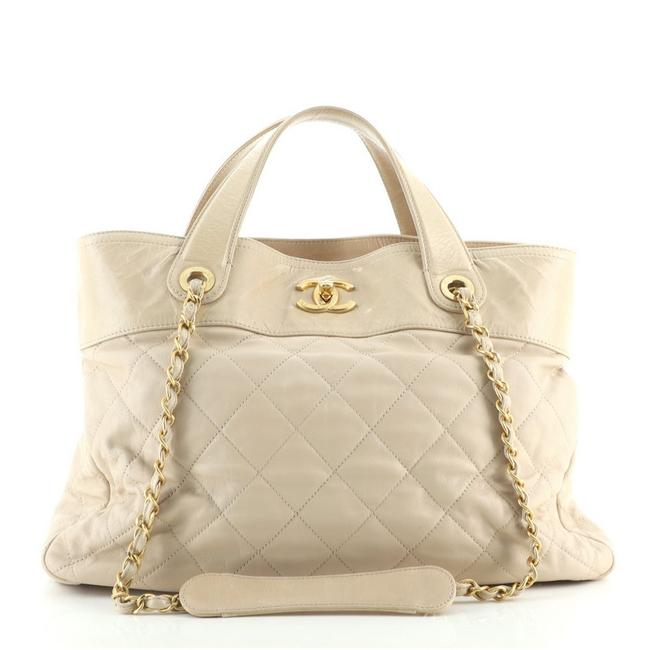 Item - Shopping Bag In The Mix Quilted Calfskin Large Neutral Leather Tote
