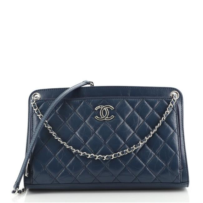 Item - Front Pocket Quilted Aged Calfskin Medium Blue Leather Cross Body Bag