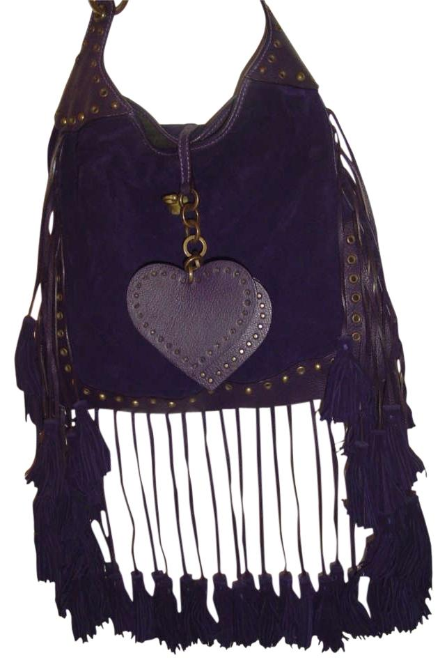 0667746f8d52 Luella Deluca Fringed Tote Deep Purple Suede and Leather Shoulder ...