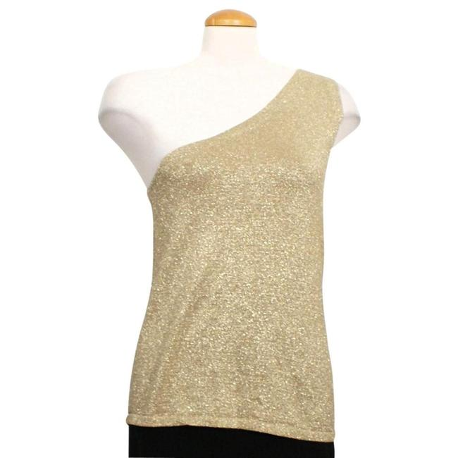 Item - Bronze L Metallic Silk Knit One Shoulder Sleeveless Tank Top/Cami Size 12 (L)