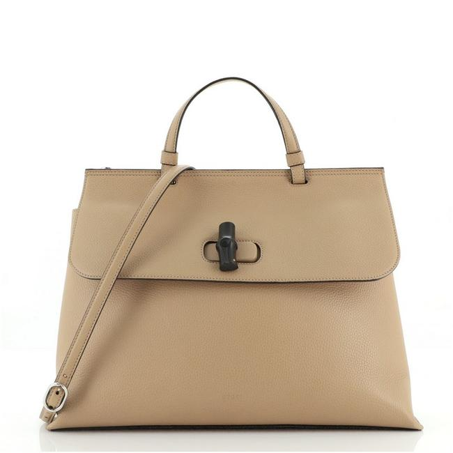 Item - Bamboo Daily Top Handle Bag Large Neutral Leather Satchel