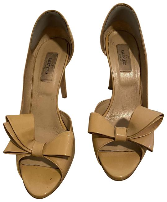 Item - Nude Patent Leather Peep Toe Heels with Bow Platforms Size EU 39.5 (Approx. US 9.5) Regular (M, B)