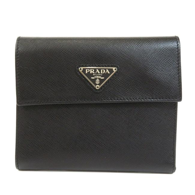 Item - Black Logo Plate Saffiano Bi-fold Leather Ladies Wallet